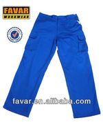 men'sblue wear work multi pocket trousers with flame resistant