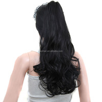 Natural hair extension heat resistant hair pieces long wavy claw clip ponytail for black women