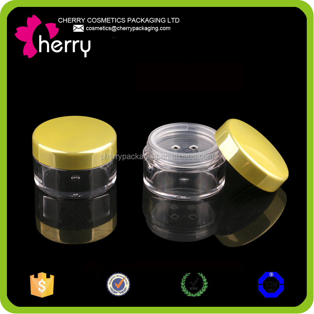 Small round shaped cosmetic jar for loose powder loose powder container with sifter loose powder jar