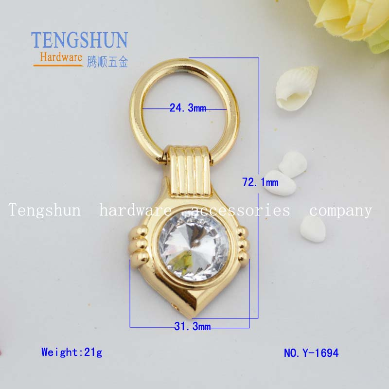 wholesale metel accessories for bags zinc alloy handle with A diamond for bag hardware
