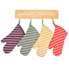 China Factory Supply Household Cooking Heat Resistant Stripes Printed Mittens Cotton Kitchen Oven Mitt