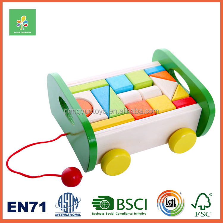 Shape - geometric wooden blocks push and pull toy in a cart baby wooden toys
