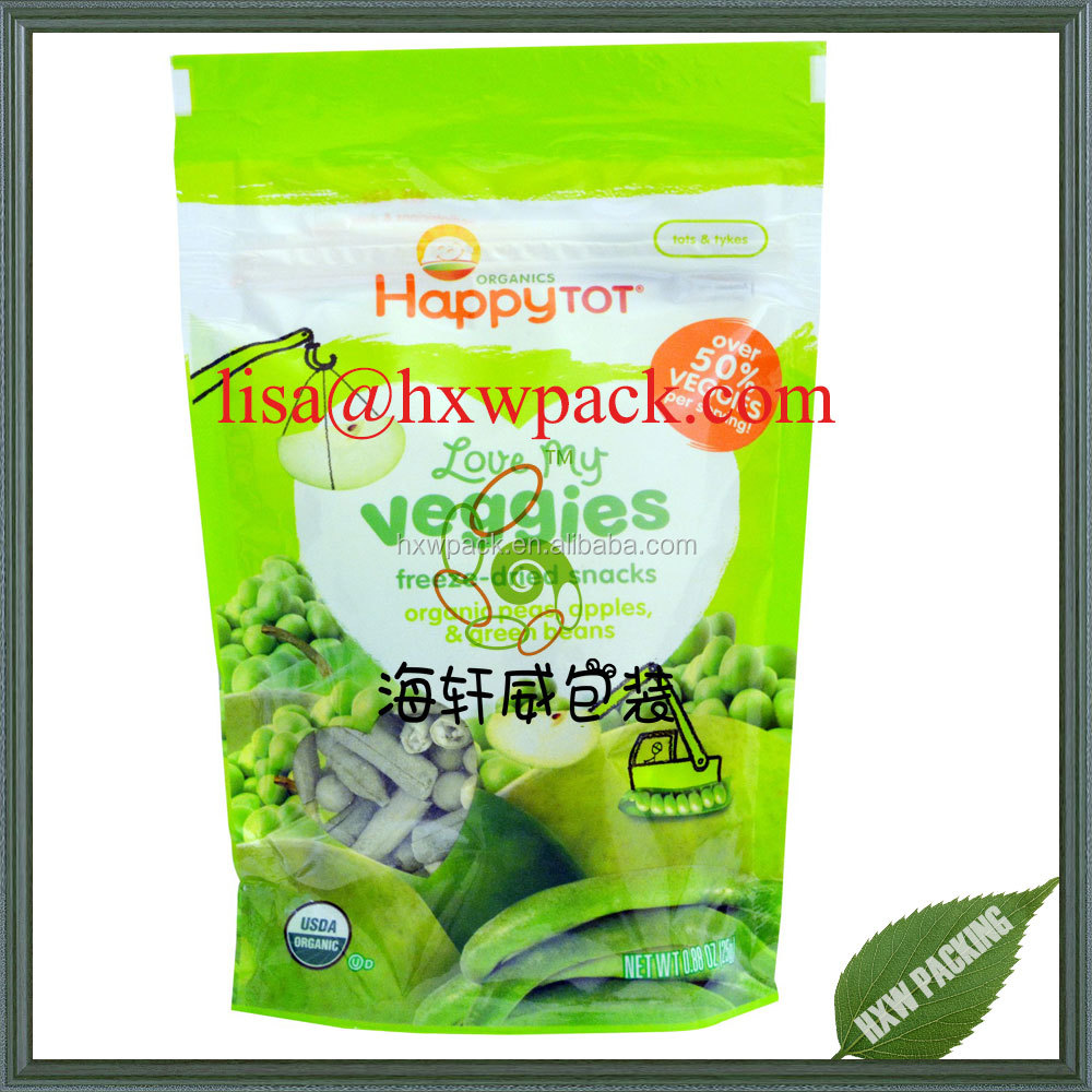 Wholesale custom logo printing dried vegetable fruit food frozen plastic foil stand up packaging bag sachet