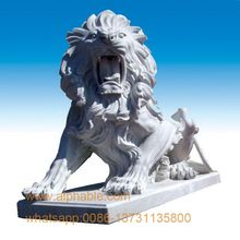 Popular Designs Hand Carved Antique Marble Lion Statues For Sale