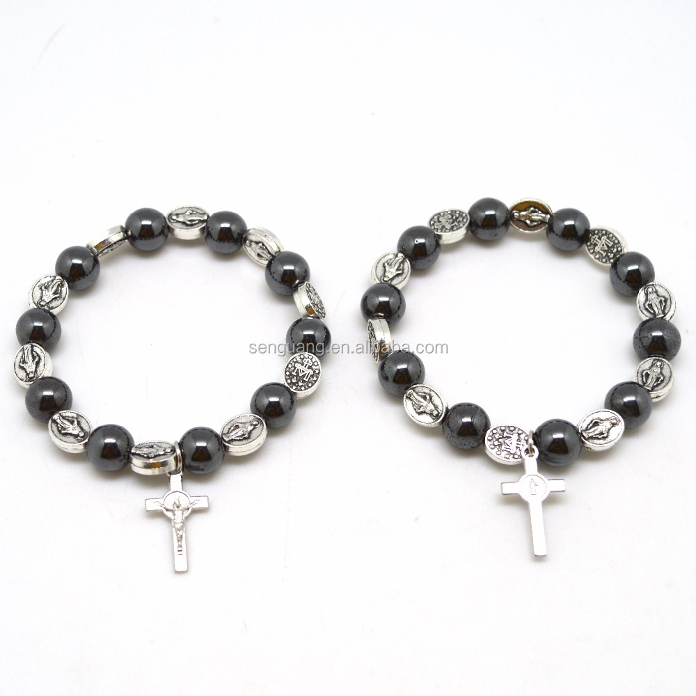 Christ gift saint benedict and hematite men bracelet