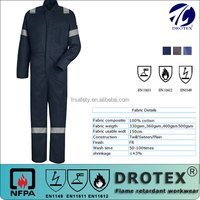 Flame Resistant Cotton Insulated Coveralls/ CFR500 Heavy duty Fire heat resistant Fabric, hot sell EN standard