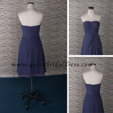 High quality Semi-Sweetheart Neckline Pleats Short Length Bridesmaid Dress