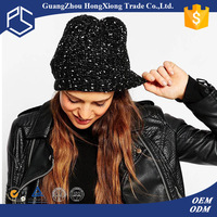 Hot selling custom women plain black knit beanie