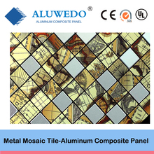 Metal mosaic peel and stick mosaic tile aluminium mosaic self adhesive wall tile for Kitchen Bathroom, Garden decoration