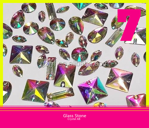 Crystal AB Glass Bling Bling Stone 2 Holes Flatback Strass Stone Sew on Accessories