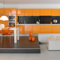 Simple design modern high glossy lacquer finish orange kitchen cabinets