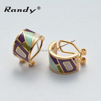 Cheap Price Colorful Enamel Stud Earrings In Gold