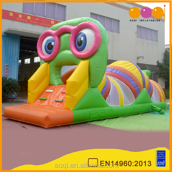 Green inflatable insect tunnel long inflatable bouncy tunnel kids inflatable obstacle tunnel for sale