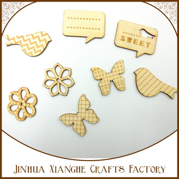 Hot Wooden Veneer Shape Vintage Mix Style Wood Bird and Flower Woodchips Scrapbooking Embellishment DIY Craft