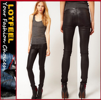 Rocket High Rise Skinny Jeans in Coated Leatherette Denim for women(LOTX095)