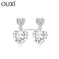 OUXI 2015 925 Sterling silver crystal heart earrings for women Y20183