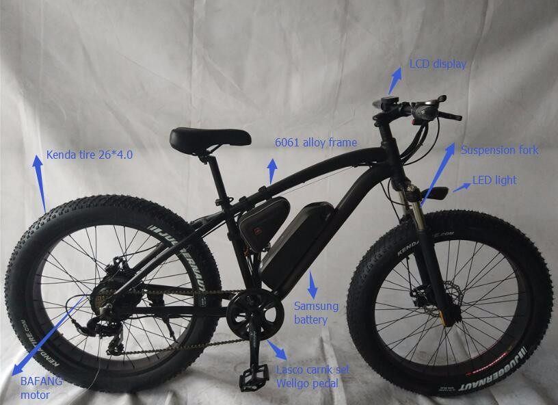 26 inch Bafang motor 750W Samsung battery 48V 13A fat tire electric bike