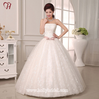 H087 Sleeveness Full Bust Ball Wedding Gown With Belt Ribbon Decoration