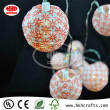 Flower pattern printing global ribbing led lighted garland