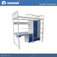 Student bunk bed with study table metal bunk bed with desk