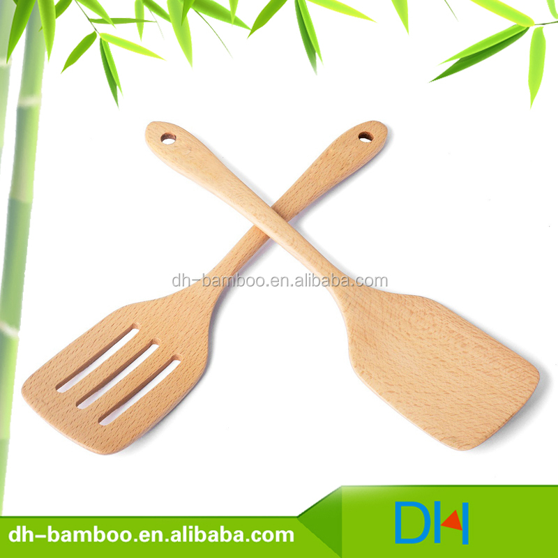 Wholesale Turner Beech Wood Spatula Set of 2 PCS Spoon for Cooking Food Stir Kitchen Utensil