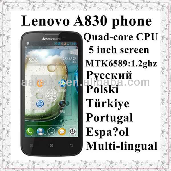 Lenovo A830 quad-core cpu 1.2ghz Android phone 5 inch ips screen support Russia and Poland menu smartphone multi-language