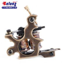 Solong Professional Custom Brass 8 Wraps Handmade Copper Tattoo Machine Set Tattoo Machine Prices
