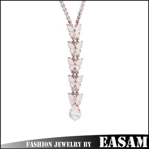 Rose Gold Plated Rhinestone Simulated Pearl Necklaces Fashion Jewelry For Women