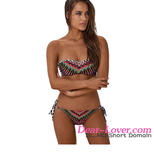 African Rays Bandeau Bikini Tie Side Bottom design your own swimsuit