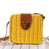 Small square box lunch bag, summer beach leather handbag(SWTJU1629)