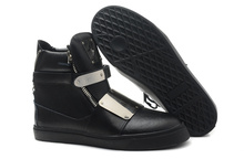 genuine leather black high ankle sneakers shoes for women and man