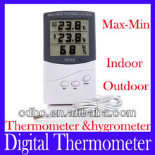 Outdoor indoor digital thermometer hygrometer TA318 with sensor wire -50~+70C