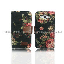 Stylish Flower Denim leather Flip Case for Samsung s3 i9300