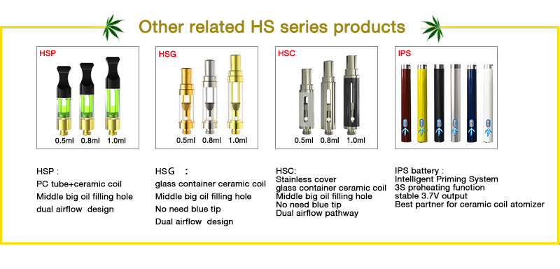 USA market hot selling products Plastic hemp oil vape pen HSP with metal tip wickless ceramic cartridge matching IPS battery