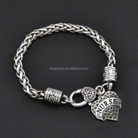 Wholesale Fashion Heart Crystal Engraved Alphabet Nurse Charms Antique Silver Bracelet For DIY