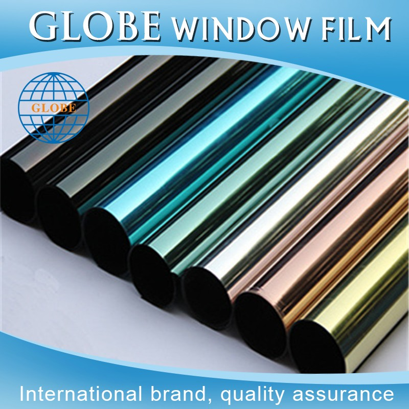 High glossy blue korea mirror heat shrink tint film for commercial and building glass