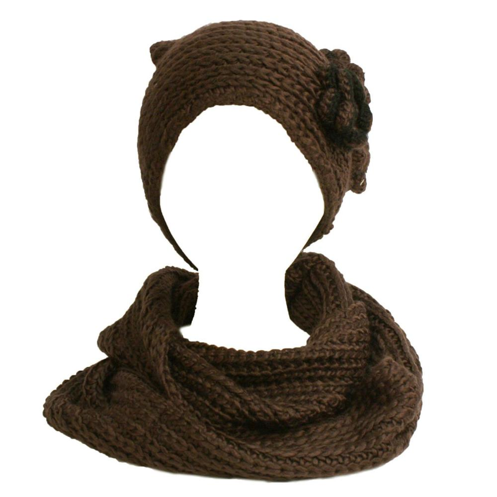 Winter Hand Knit Flower Loop Circle Chain Infinity Scarf Beanie Set Brown