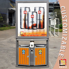 eco friendly product outdoor advertising garbage can steel waste bin price
