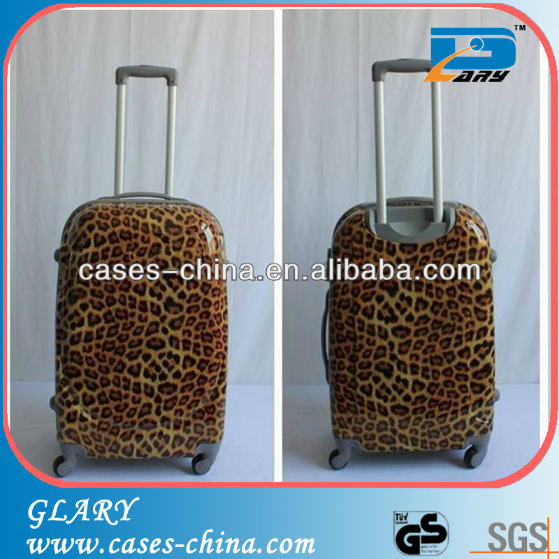 New design ABS / PC leopard printting trolley travel luggage case/luggage