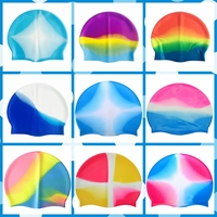 OEM Good Feeling Multicolored Adults Discount Price Printing Silicone Silicone Swim Cap