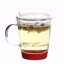 Best Selling Products Clear Glass Infuser Tea Cup with Strainer and Lids