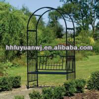 decorative artistic iron garden arch with bench for wedding