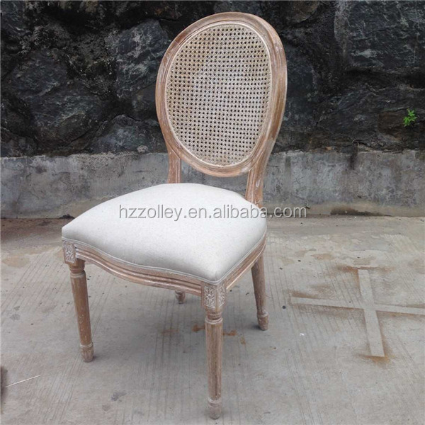 French style <strong>oak</strong> wood louis dining chair, wedding outside rattan side chairs