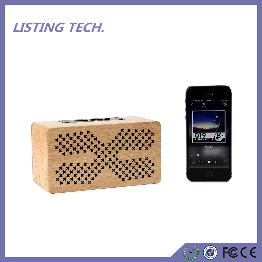 Wooden Portable Wireless Retro enceinte 3D Dual Loudspeaker Surround Bluetooth Speaker