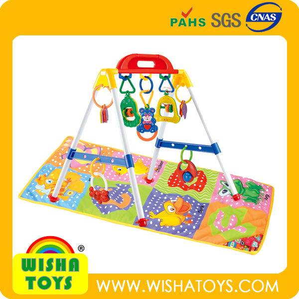 Electronic musical baby activity gym set with baby play mat