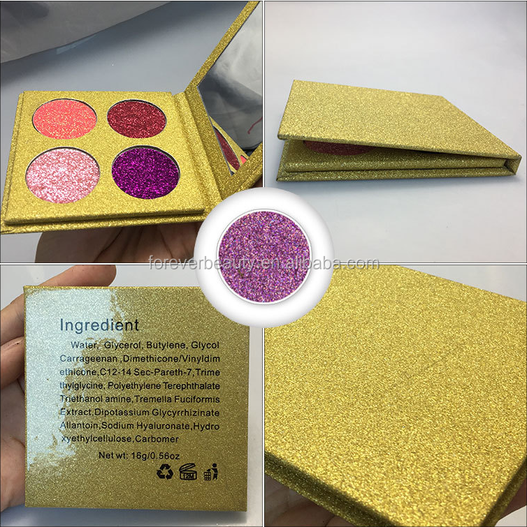 Hot selling high pigmented no logo small 4 color eyeshadow palett glitter golden makeup eye shadow with mirror