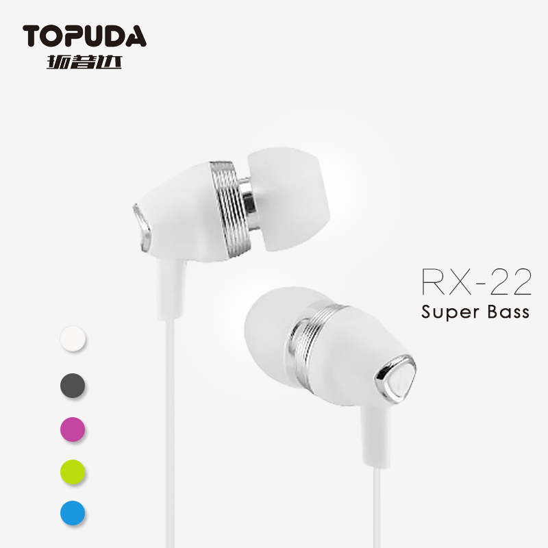 3.5 mm plug jack colorful in ear earphone with mic for mobile phone