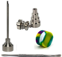 Tool Set 14mm 18mm Domeless Titanium Nail with Male Joint Carb Cap Stainless Steel Dabber Silicone Jar for Glass Bong