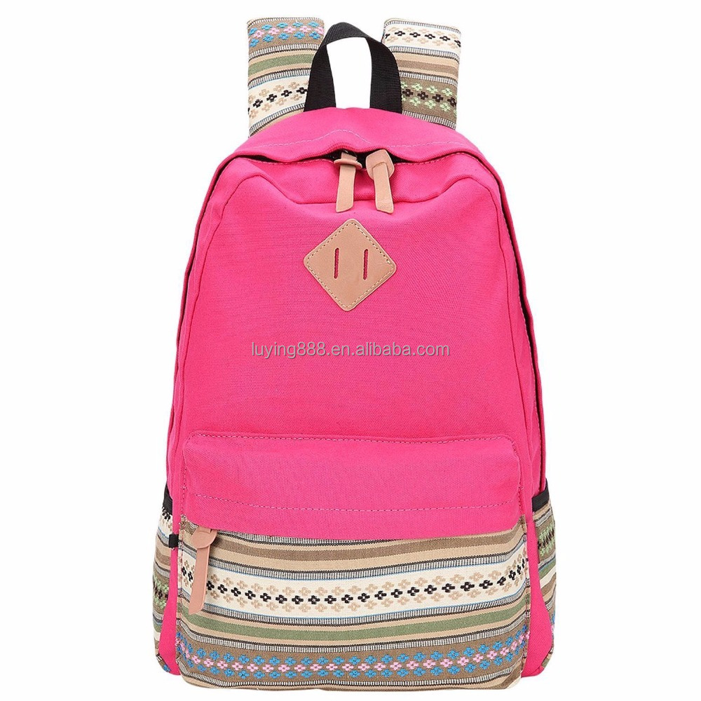 Lightweight Canvas Girls Boho Style Unisex Fashionable Zip School College Laptop Bag for Teens Girls Students Casual Backpack
