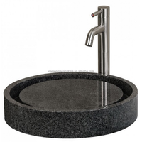 Highly Poilshed Round Sesame Gray Black Granite Kitchen Bathroom Sinks Vanities